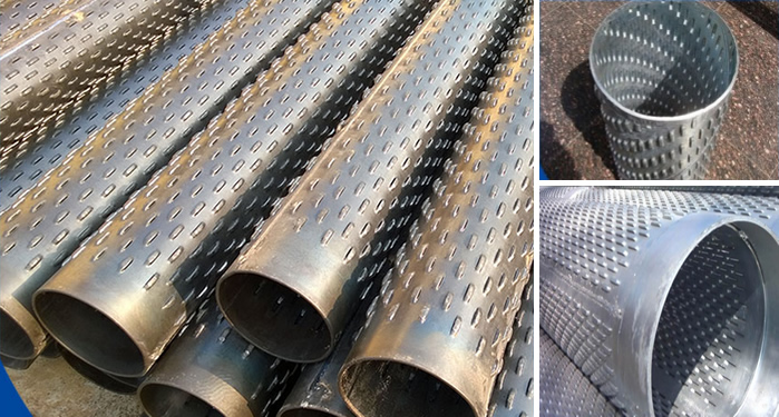 Water Well Screens : Perforated tube for sand control screen and support tubing